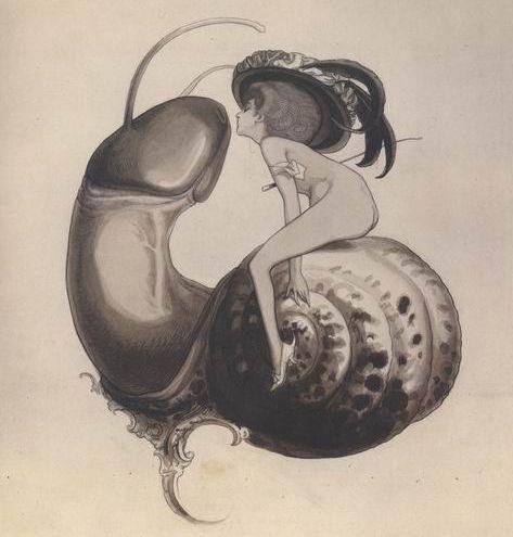 Franz von Bayros : Ex-libris of ''Sweet Snail'' (about 1900) Artist died in 1922 {{PD-Art}}