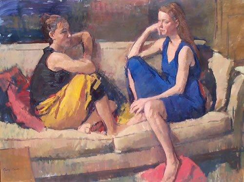 Freundinnen, Gemälde von Jerry Weiss, 2003 via Wikimedia Commons