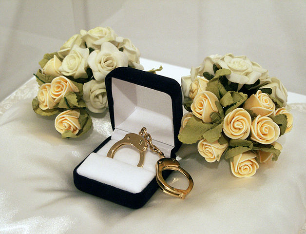 Wedding bouquets and handcuffs