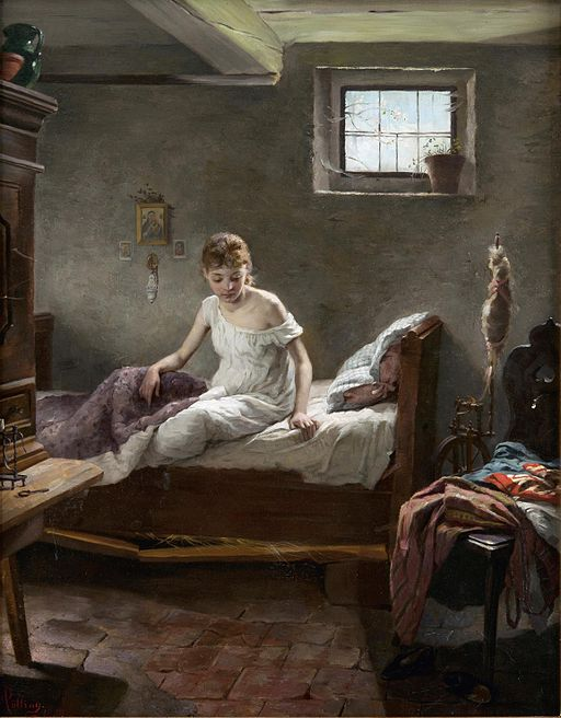 Painting of a woman getting out of bed.