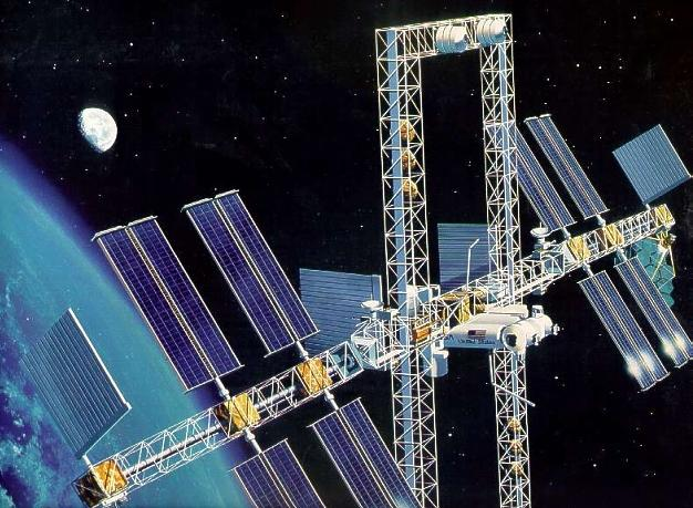 The never built space station Freedom, picture by NASA