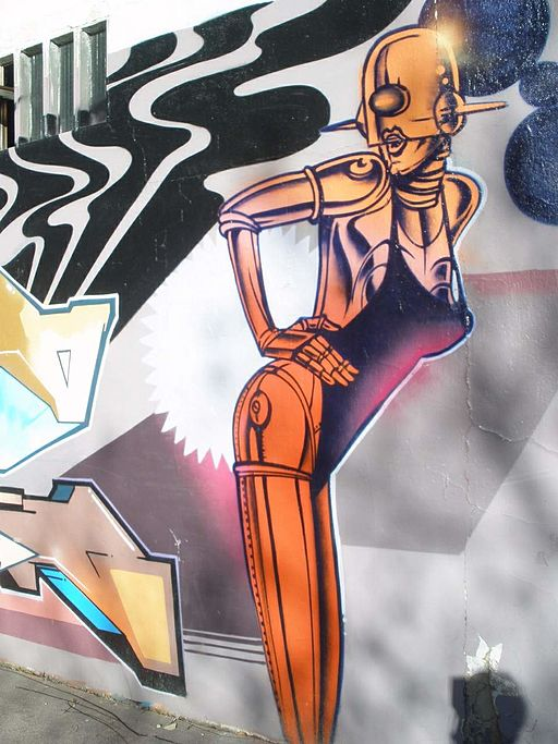 graffiti of a sexy robot