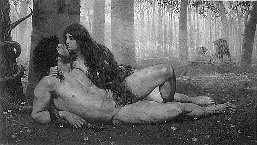 picture of a woman and man in black and white lying naked under a tree.