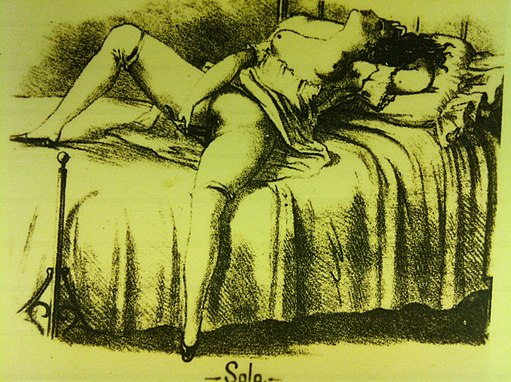 El Paral-lel 19=894 - 1939 Exhibit at CCCB in Barcelona woman masturbating on a bed