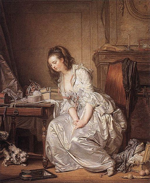 Painting of the broken mirror by Jean Baptiste Greuze