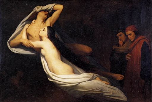 The Ghosts of Paolo and Francesca Appear to Dante and Virgil painting