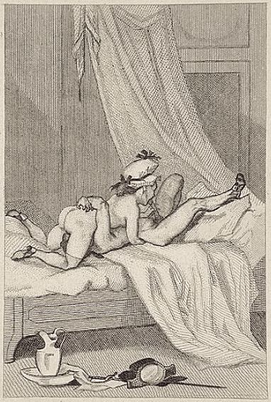 Felicien Rops black and white picture of a man and woman 69ing.