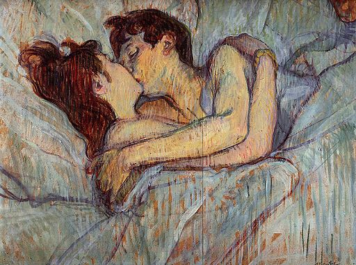 Painting by Toulouse Lautrec of a man and a woman kissing in bed