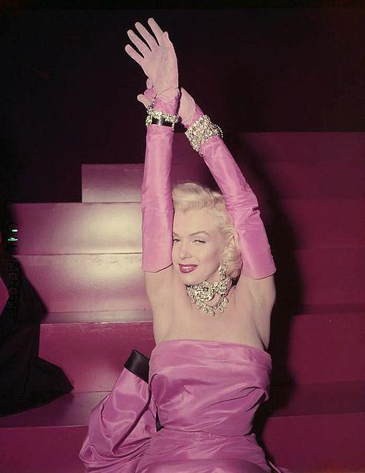 Marilyn Monroe in pink posing for Gentlemen Prefer Blondes.