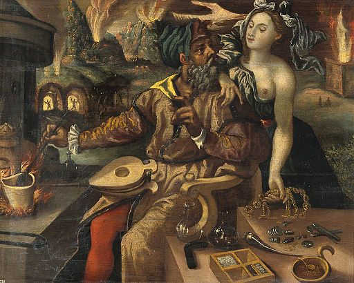 An alchemist being tempted by Luxuria - oil painting after ma wellcome
