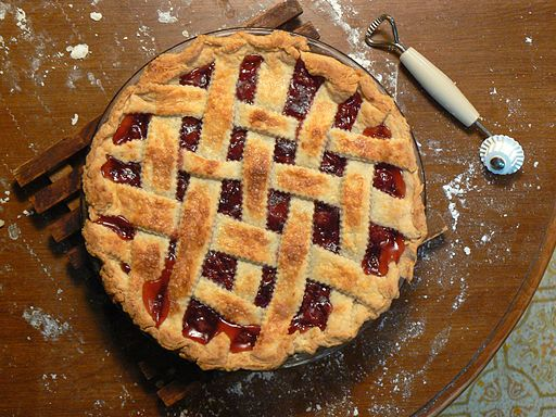 photo of a cherry pie with lattice