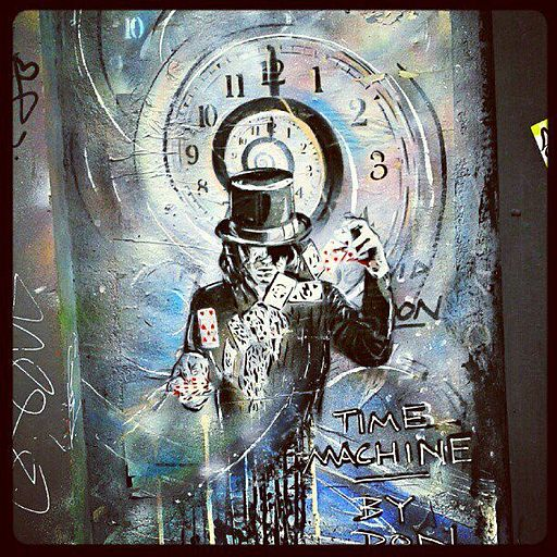 Graffiti in Shoreditch London of a time machine by Paul Don Smith.