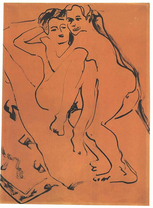 drawing of a couple - kirchner liebesparr in orange