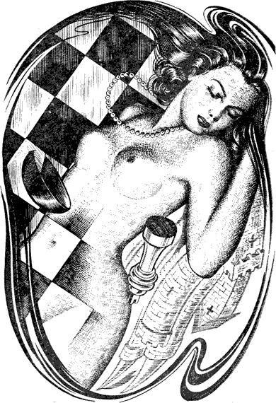 Black and white drawing Breaking Point 2 topless woman