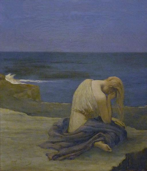 Painting of a sad woman on the sand by the ocean