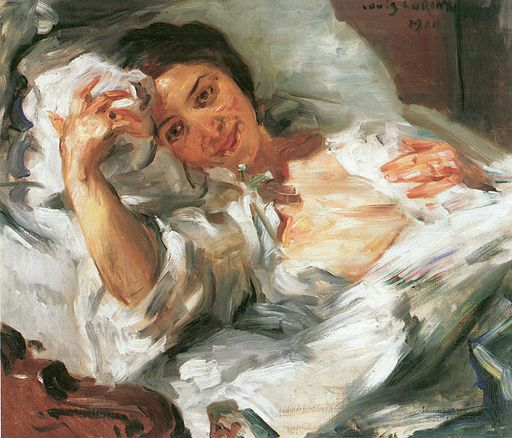 Corinth Lovis - Morgensonne painting of a woman waking up in bed.