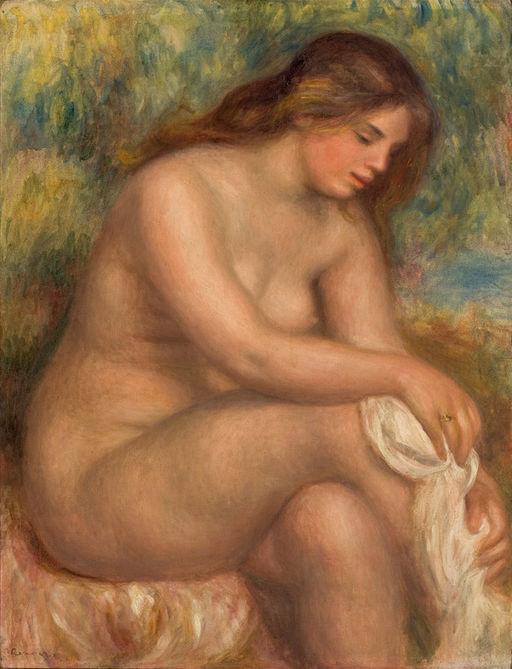 Painting by Renoir - Banhista Enxugando a Perna Direita - nude woman