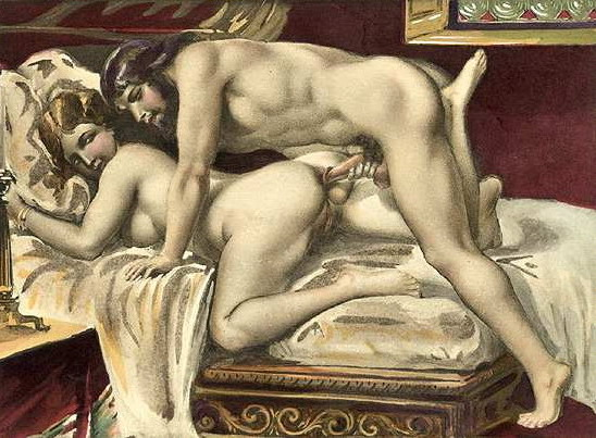Man and woman having sex in doggy position on a bed.