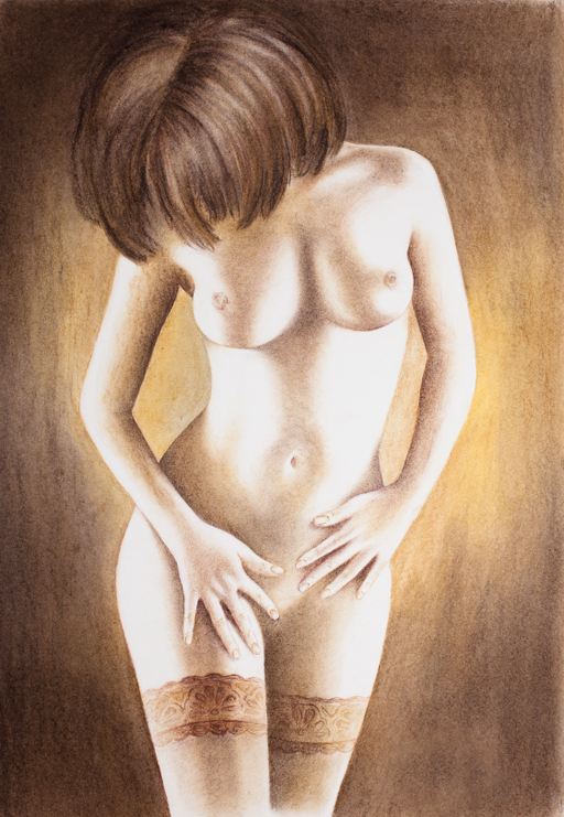 female nude chalk crawing