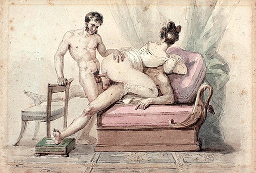 drawing of a woman and two men having sex by Paul Chenavard.