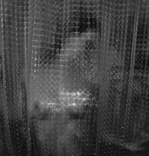 photo of a shower curtain with a naked woman behind it.