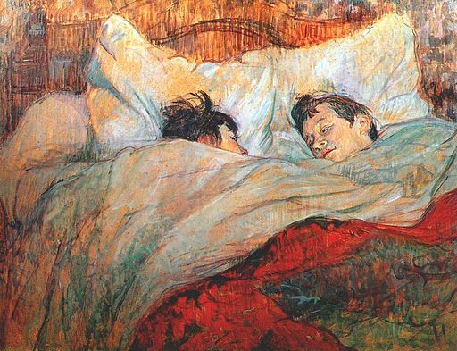 painting of a man and a woman in bed