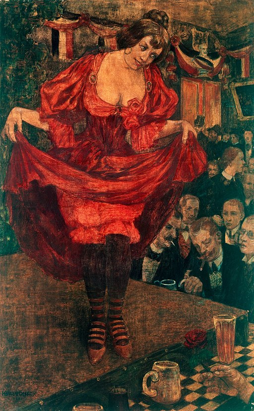 Painting of a woman in red showing her knickers to men.
