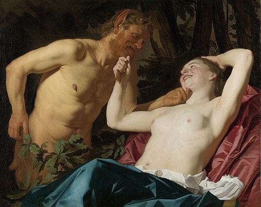 Painting of a nymph and a satyr by gerard van honthorst