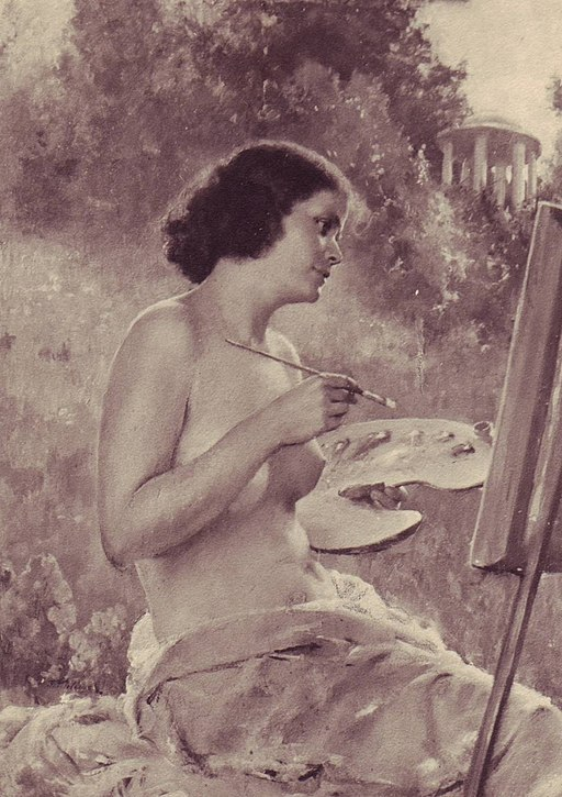 drawing of a topless woman painting.