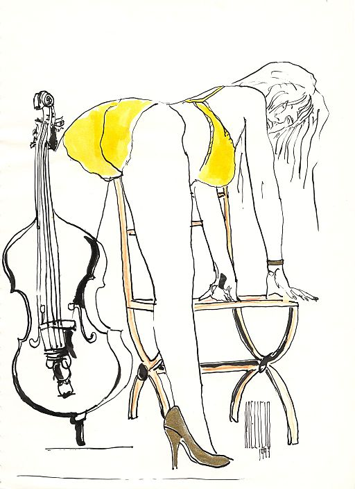 drawing of a woman in lingerie with a cello