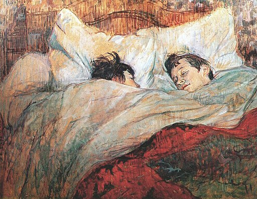painting of a couple in bed